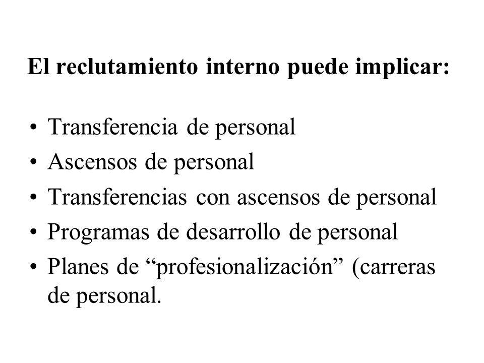 El reclutamiento interno puede implicar: