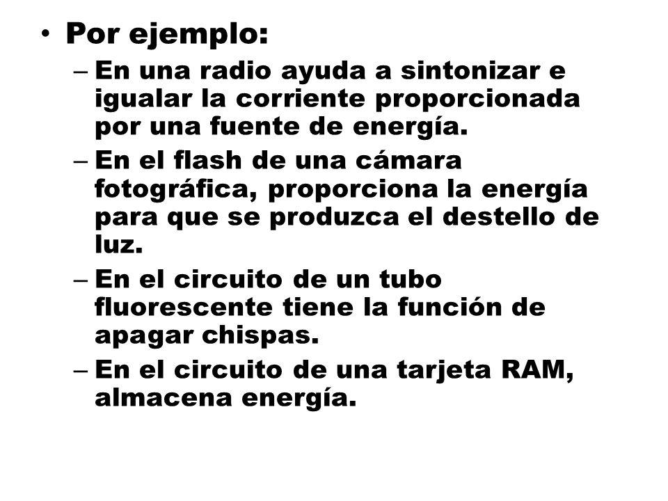 Por ejemplo:En una radio ayuda a sintonizar e igualar la corriente proporcionada por una fuente de energía.