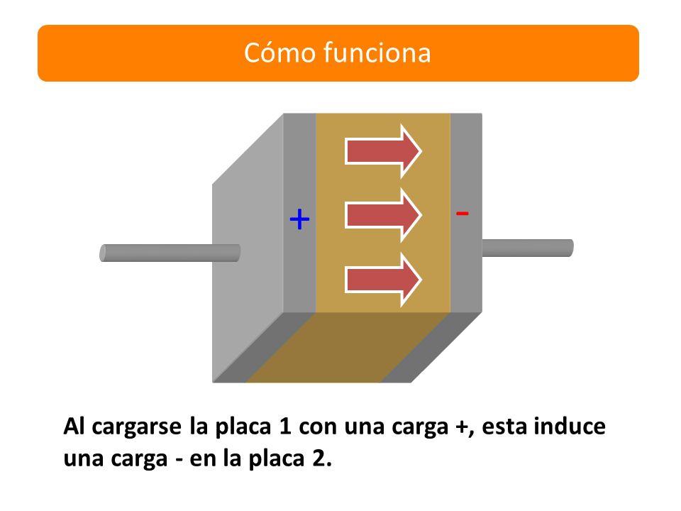 Cómo funciona - + Al cargarse la placa 1 con una carga +, esta induce una carga - en la placa 2.