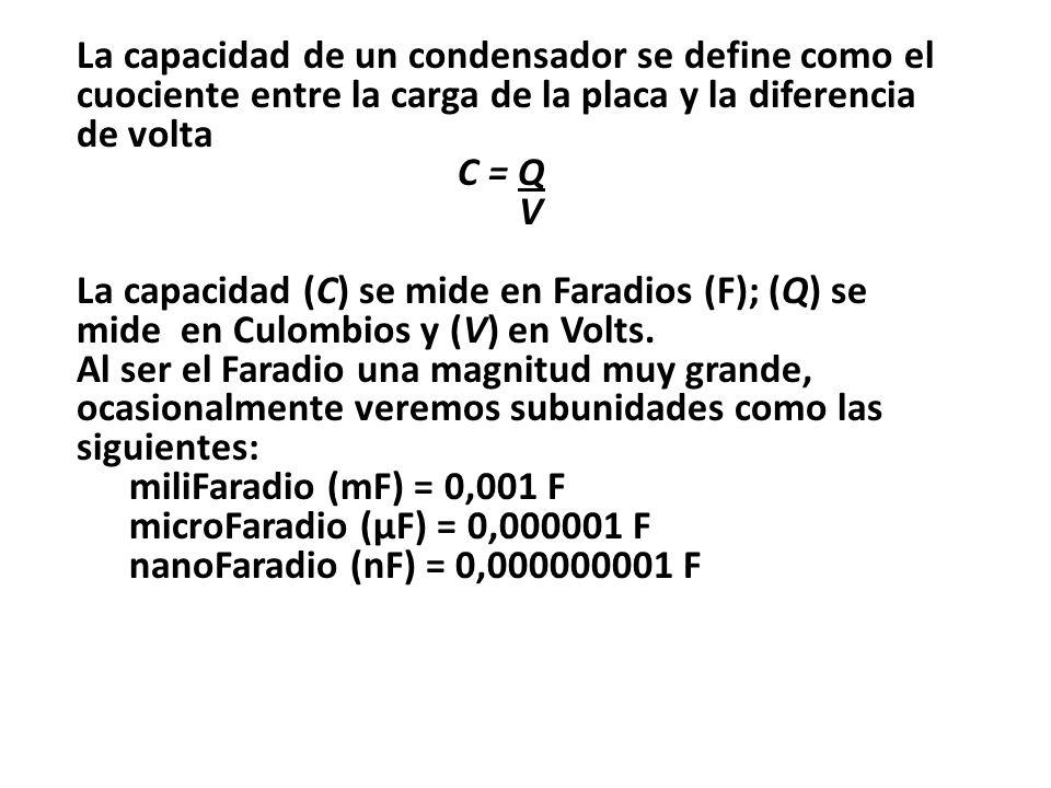 La capacidad de un condensador se define como el cuociente entre la carga de la placa y la diferencia de volta