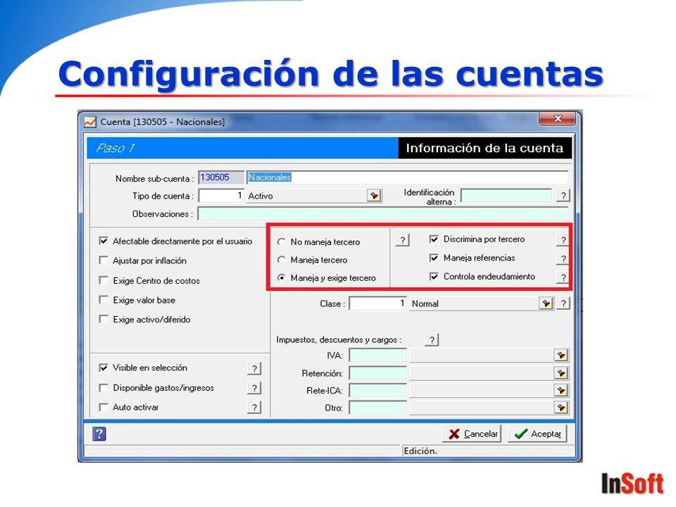 Configuración de las cuentas