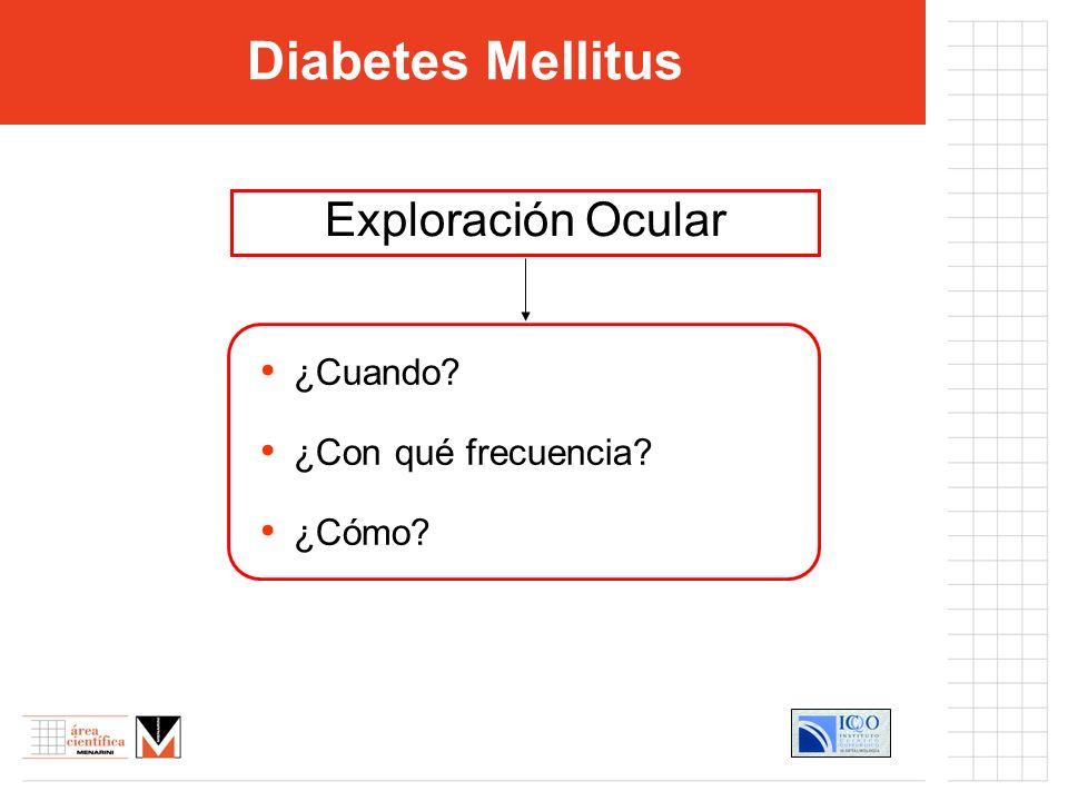 Diabetes Mellitus Exploración Ocular ¿Cuando ¿Con qué frecuencia