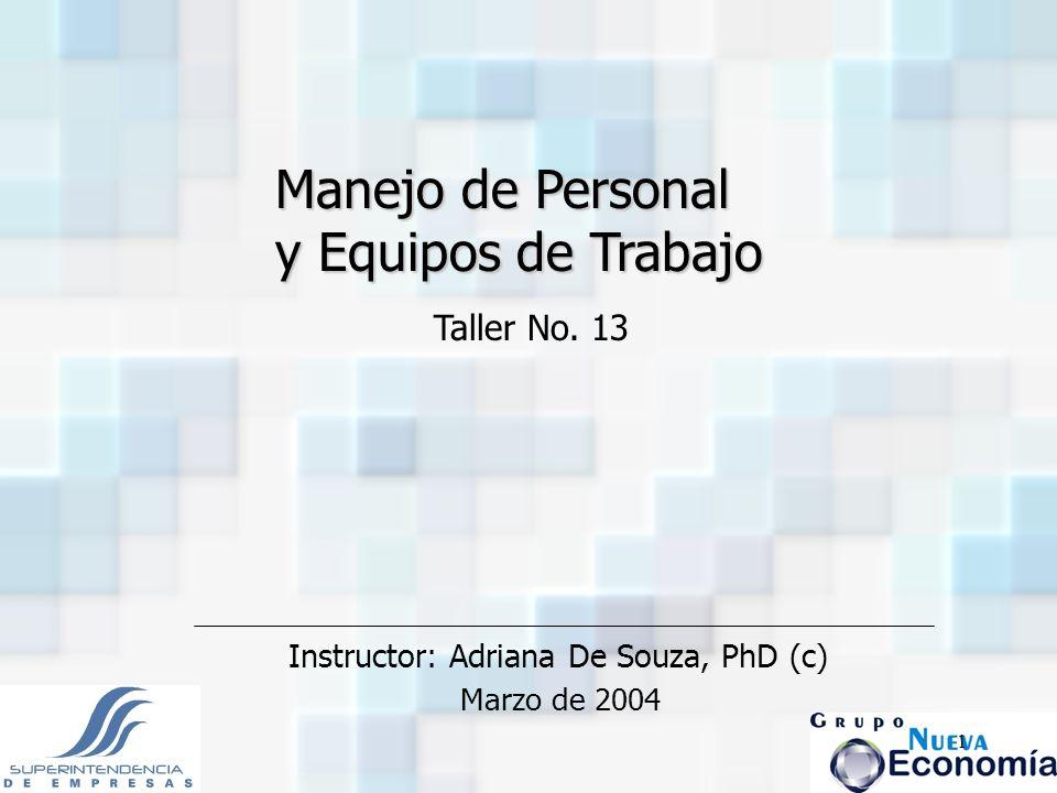 Manejo de Personal y Equipos de Trabajo Taller No. 13