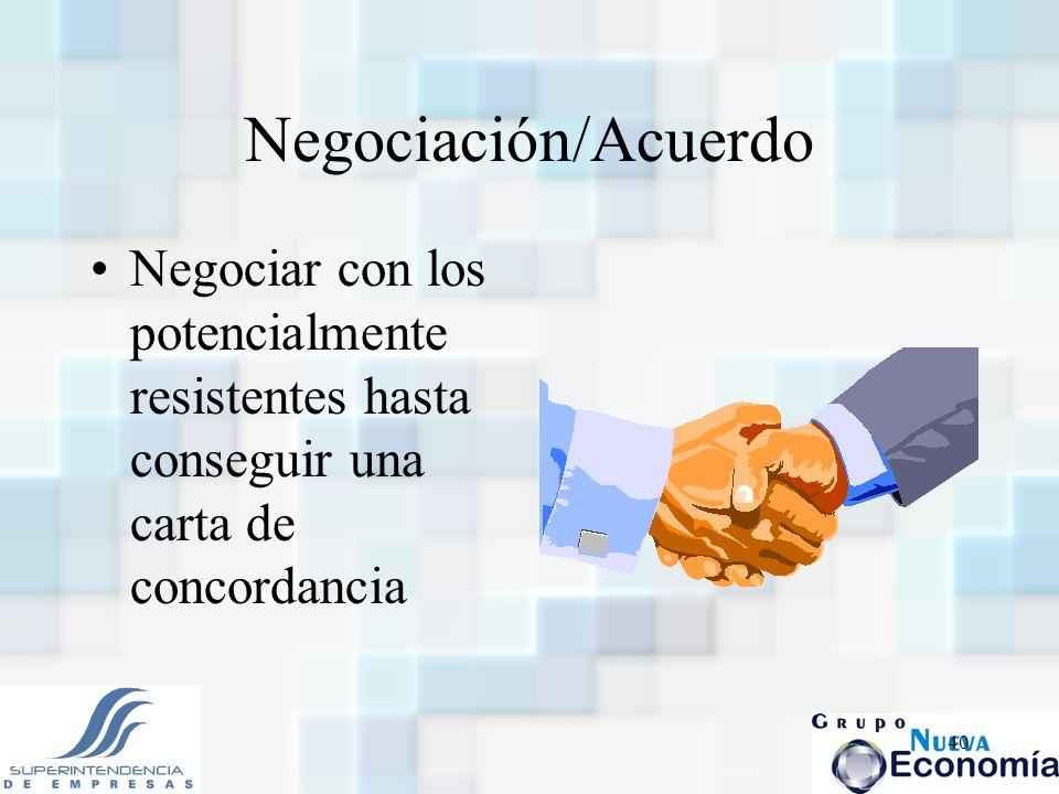 Negociación/Acuerdo Negociar con los potencialmente resistentes hasta conseguir una carta de concordancia.