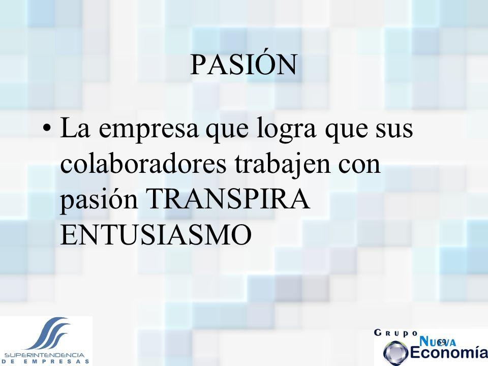 PASIÓN La empresa que logra que sus colaboradores trabajen con pasión TRANSPIRA ENTUSIASMO