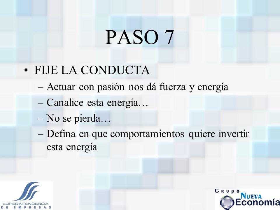 PASO 7 FIJE LA CONDUCTA Actuar con pasión nos dá fuerza y energía