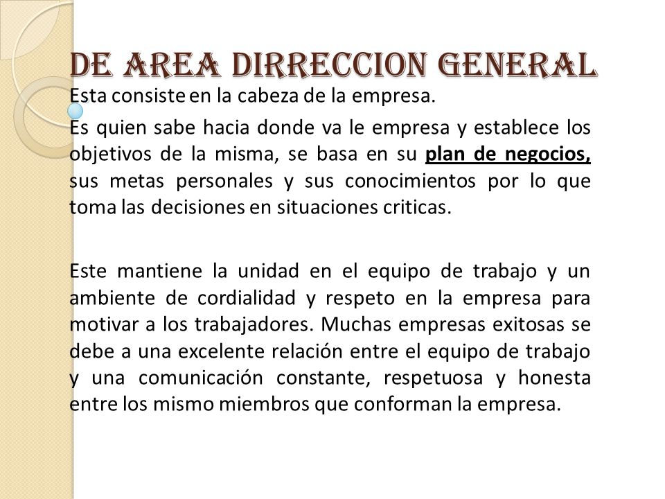 DE AREA DIRRECCION GENERAL