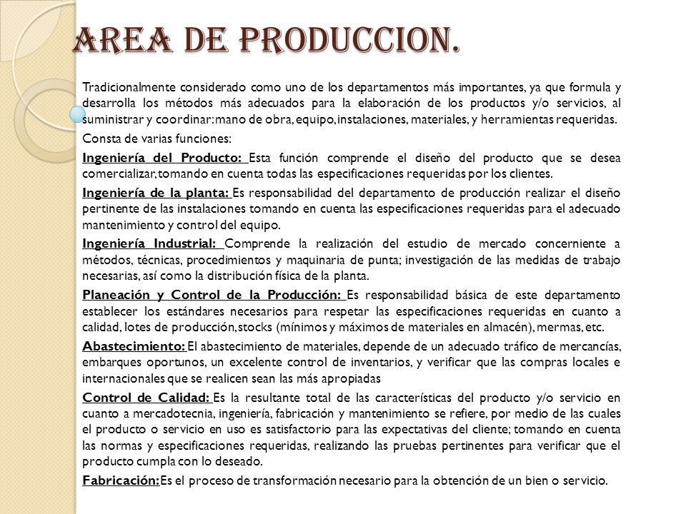 AREA DE PRODUCCION.