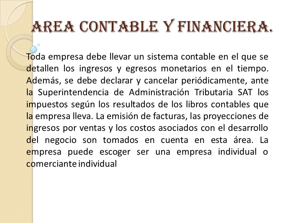 AREA CONTABLE Y FINANCIERA.