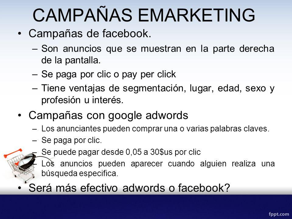 CAMPAÑAS EMARKETING Campañas de facebook. Campañas con google adwords
