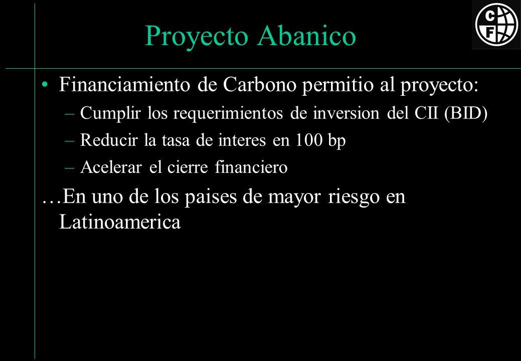 Proyecto Abanico Financiamiento de Carbono permitio al proyecto: