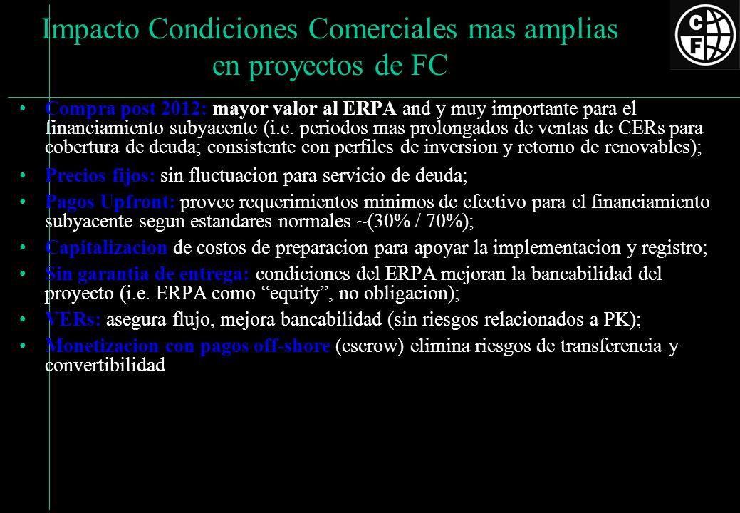 Impacto Condiciones Comerciales mas amplias en proyectos de FC