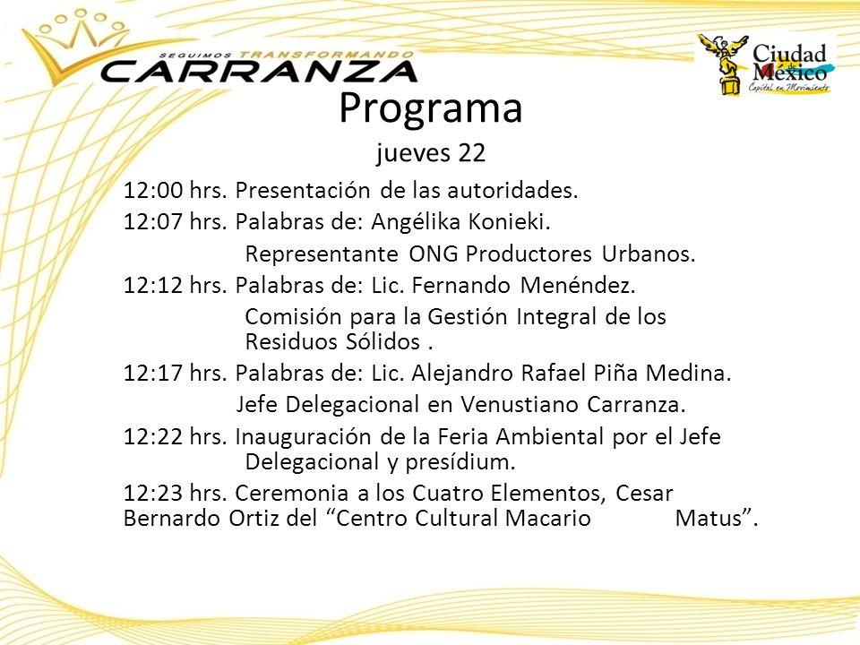 Programa jueves 22 12:00 hrs. Presentación de las autoridades.