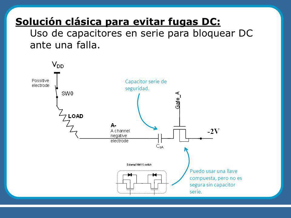 Solución clásica para evitar fugas DC: Uso de capacitores en serie para bloquear DC ante una falla.