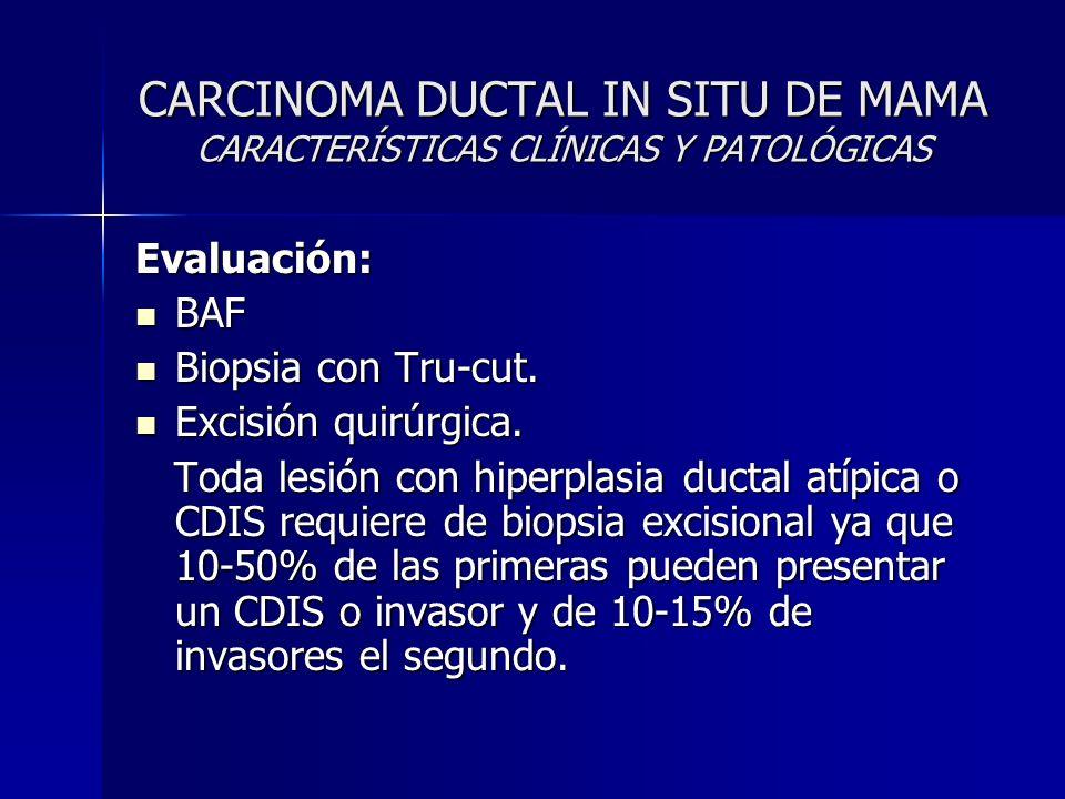 CARCINOMA DUCTAL IN SITU DE MAMA CARACTERÍSTICAS CLÍNICAS Y PATOLÓGICAS
