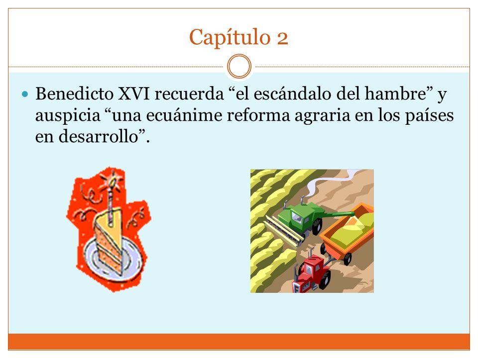 Capítulo 2 Benedicto XVI recuerda el escándalo del hambre y auspicia una ecuánime reforma agraria en los países en desarrollo .