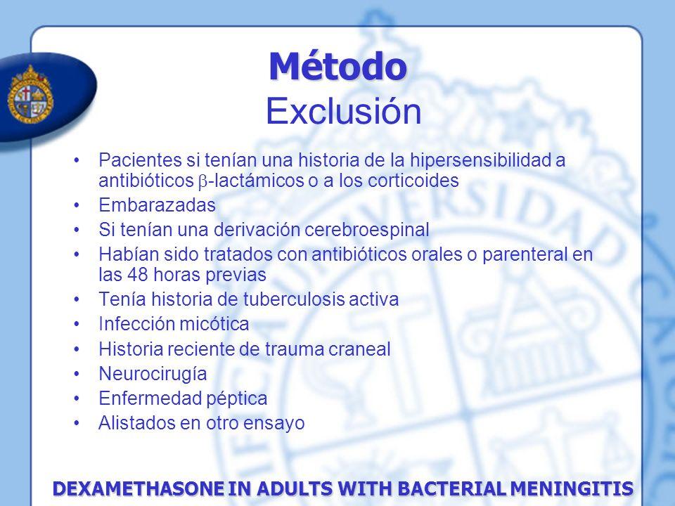 Método Exclusión Pacientes si tenían una historia de la hipersensibilidad a antibióticos -lactámicos o a los corticoides.