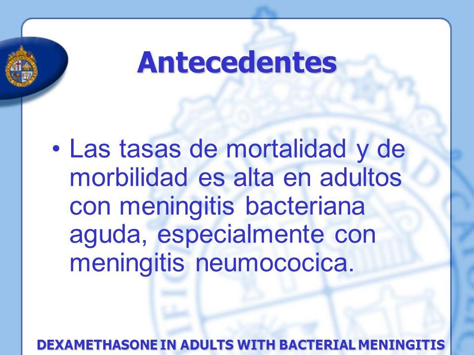 Antecedentes Las tasas de mortalidad y de morbilidad es alta en adultos con meningitis bacteriana aguda, especialmente con meningitis neumococica.