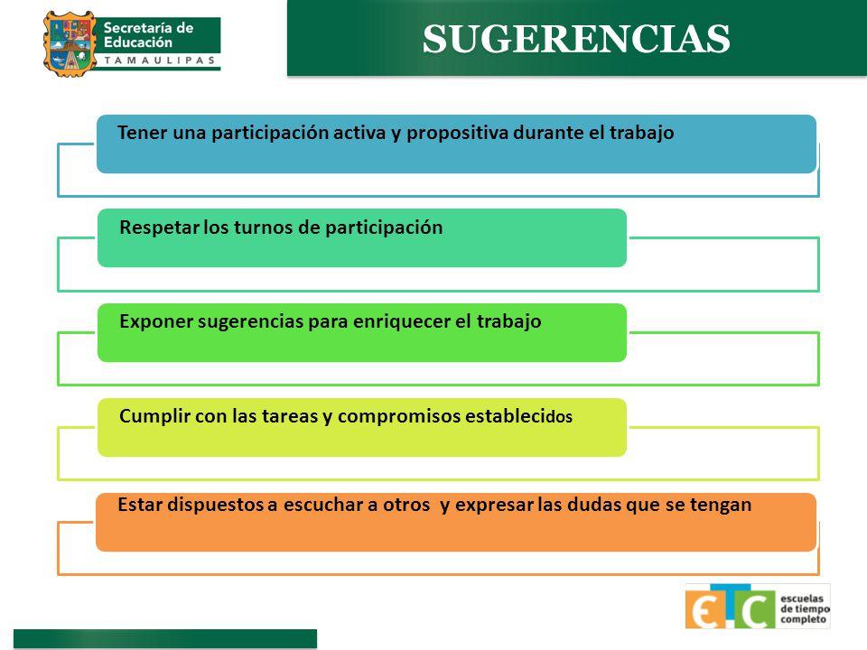 SUGERENCIAS Tener una participación activa y propositiva durante el trabajo. Respetar los turnos de participación.