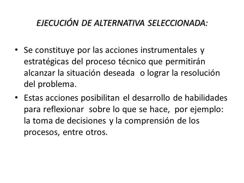 EJECUCIÓN DE ALTERNATIVA SELECCIONADA: