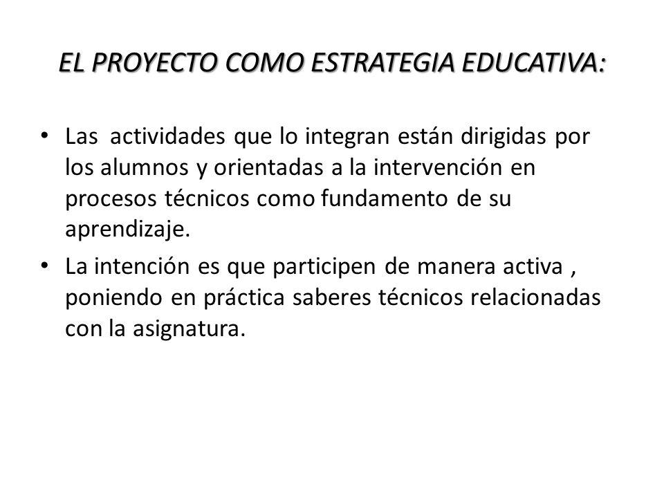 EL PROYECTO COMO ESTRATEGIA EDUCATIVA: