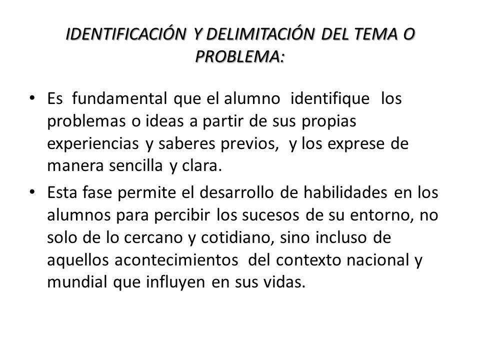 IDENTIFICACIÓN Y DELIMITACIÓN DEL TEMA O PROBLEMA: