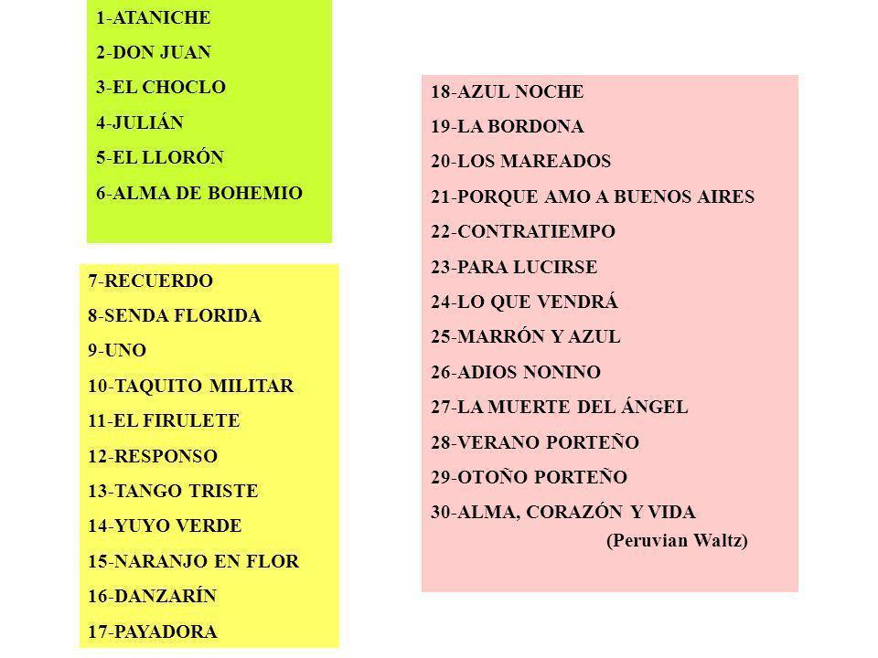 1-ATANICHE 2-DON JUAN. 3-EL CHOCLO. 4-JULIÁN. 5-EL LLORÓN. 6-ALMA DE BOHEMIO. 7-RECUERDO. 8-SENDA FLORIDA.