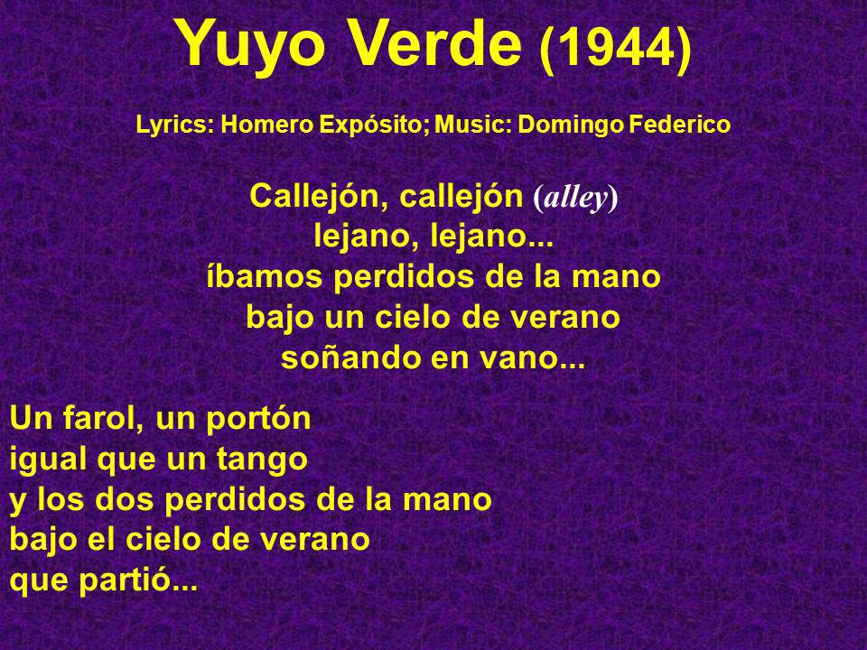 Lyrics: Homero Expósito; Music: Domingo Federico