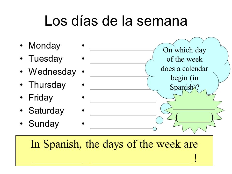 On which day of the week does a calendar begin (in Spanish)