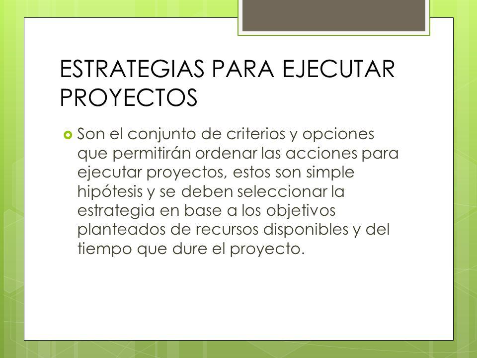 ESTRATEGIAS PARA EJECUTAR PROYECTOS