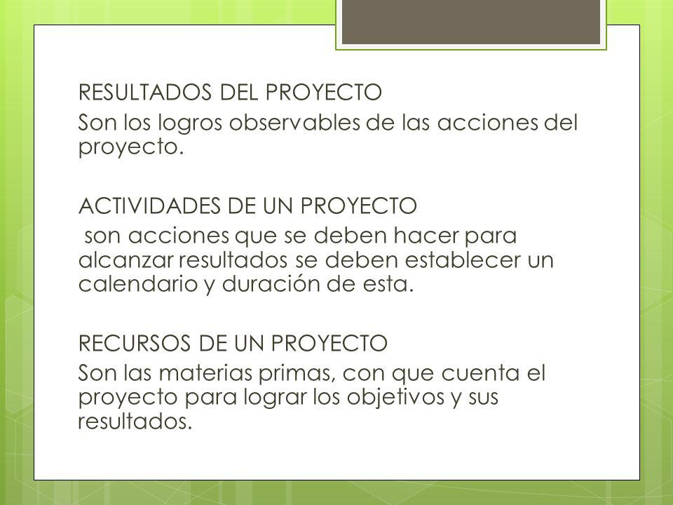 RESULTADOS DEL PROYECTO Son los logros observables de las acciones del proyecto.