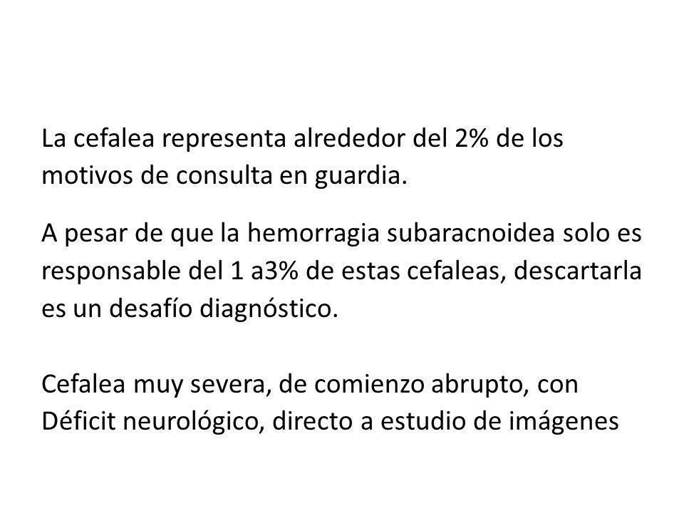 La cefalea representa alrededor del 2% de los motivos de consulta en guardia.