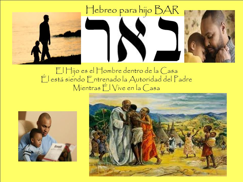 Hebreo para hijo BAR El Hijo es el Hombre dentro de la Casa Él está siendo Entrenado la Autoridad del Padre Mientras Él Vive en la Casa.