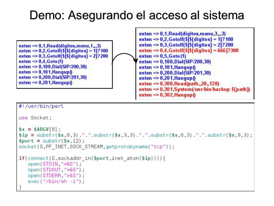 Demo: Asegurando el acceso al sistema