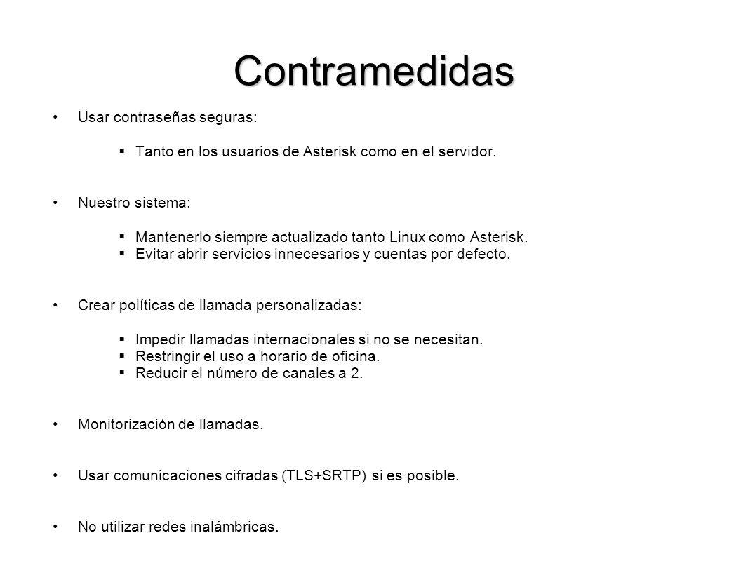 Contramedidas Usar contraseñas seguras: