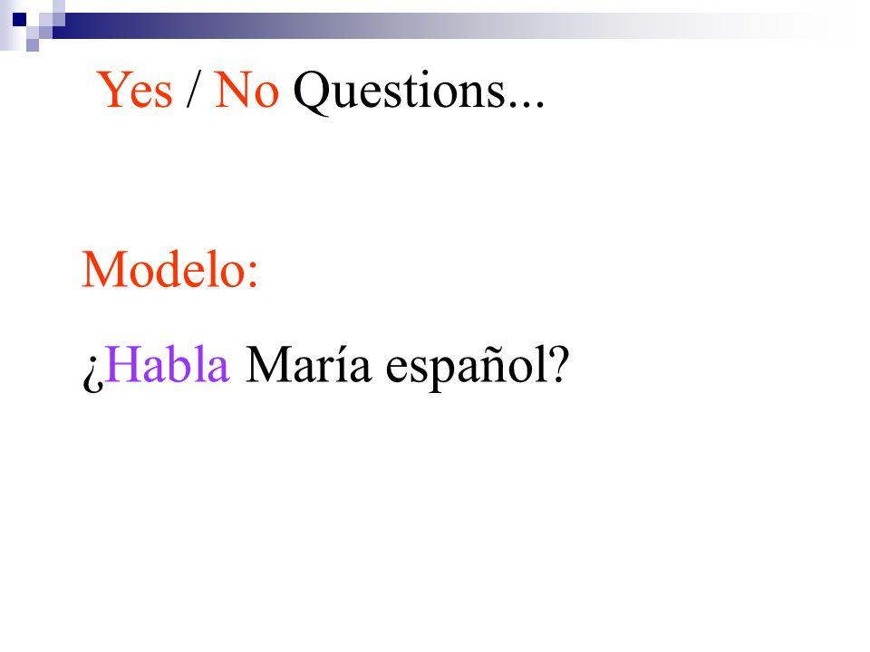 Yes / No Questions... Modelo: ¿Habla María español