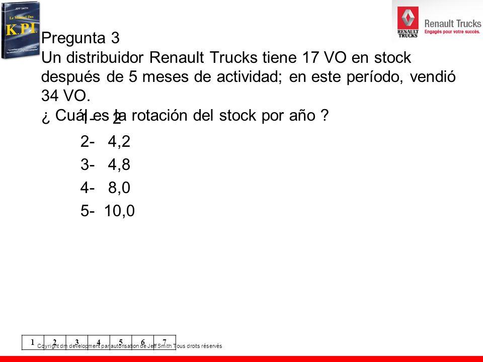 Pregunta 3 Un distribuidor Renault Trucks tiene 17 VO en stock después de 5 meses de actividad; en este período, vendió 34 VO. ¿ Cuál es la rotación del stock por año