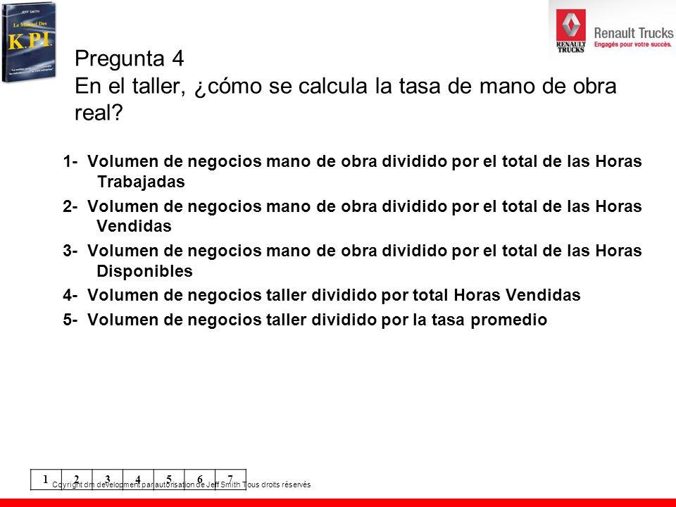 Pregunta 4 En el taller, ¿cómo se calcula la tasa de mano de obra real