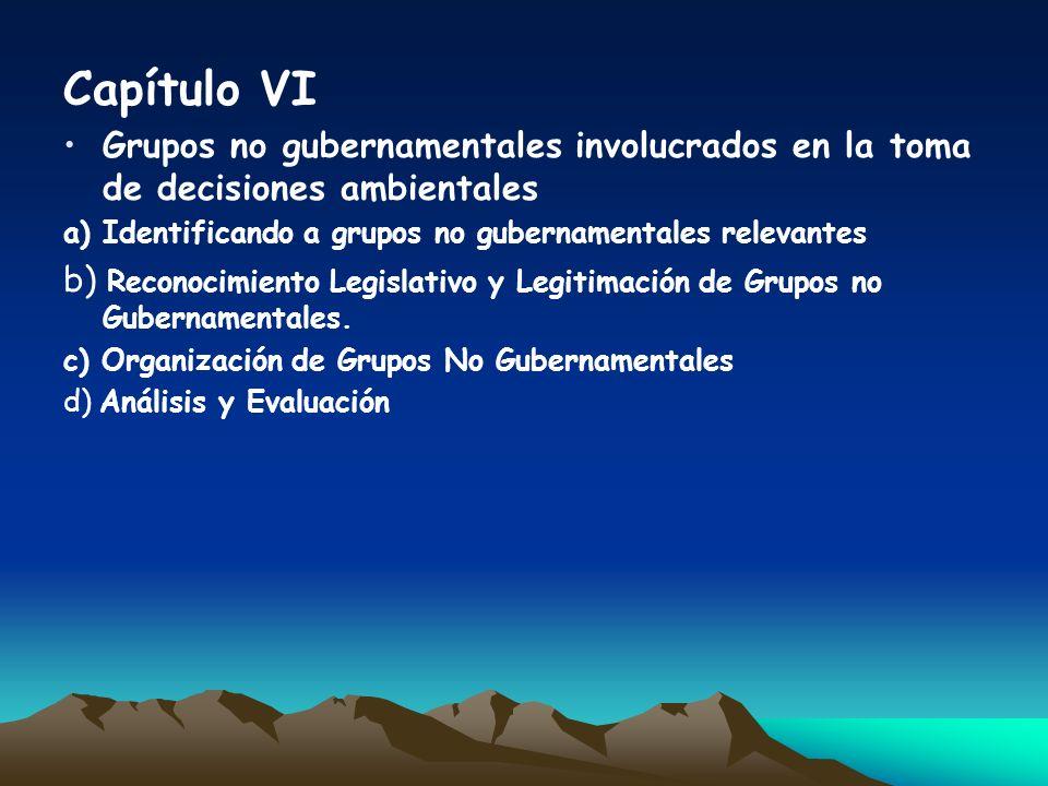 Capítulo VIGrupos no gubernamentales involucrados en la toma de decisiones ambientales. a) Identificando a grupos no gubernamentales relevantes.