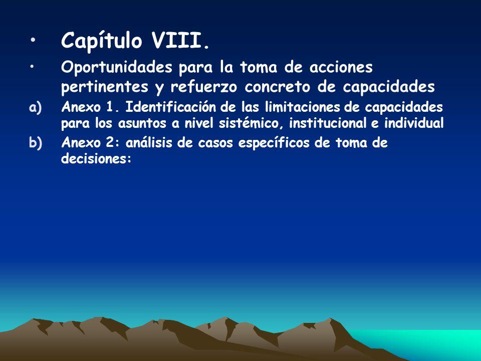 Capítulo VIII. Oportunidades para la toma de acciones pertinentes y refuerzo concreto de capacidades.