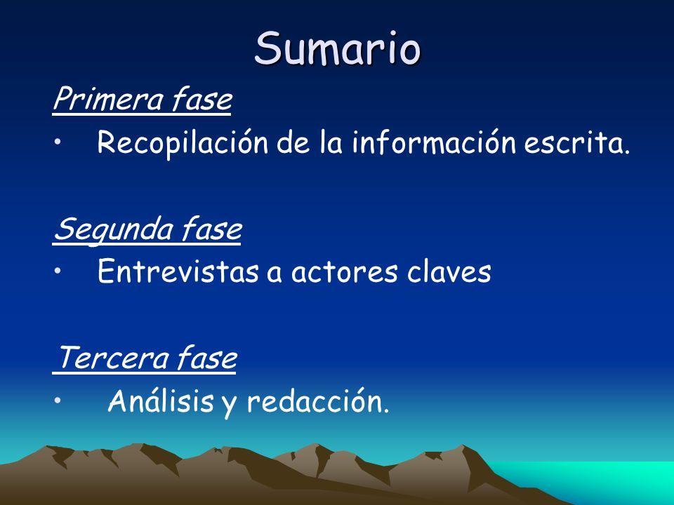 Sumario Primera fase Recopilación de la información escrita.