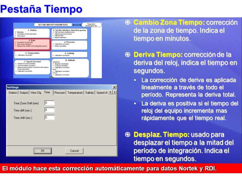 Pestaña Tiempo Cambio Zona Tiempo: corrección de la zona de tiempo. Indica el tiempo en minutos.