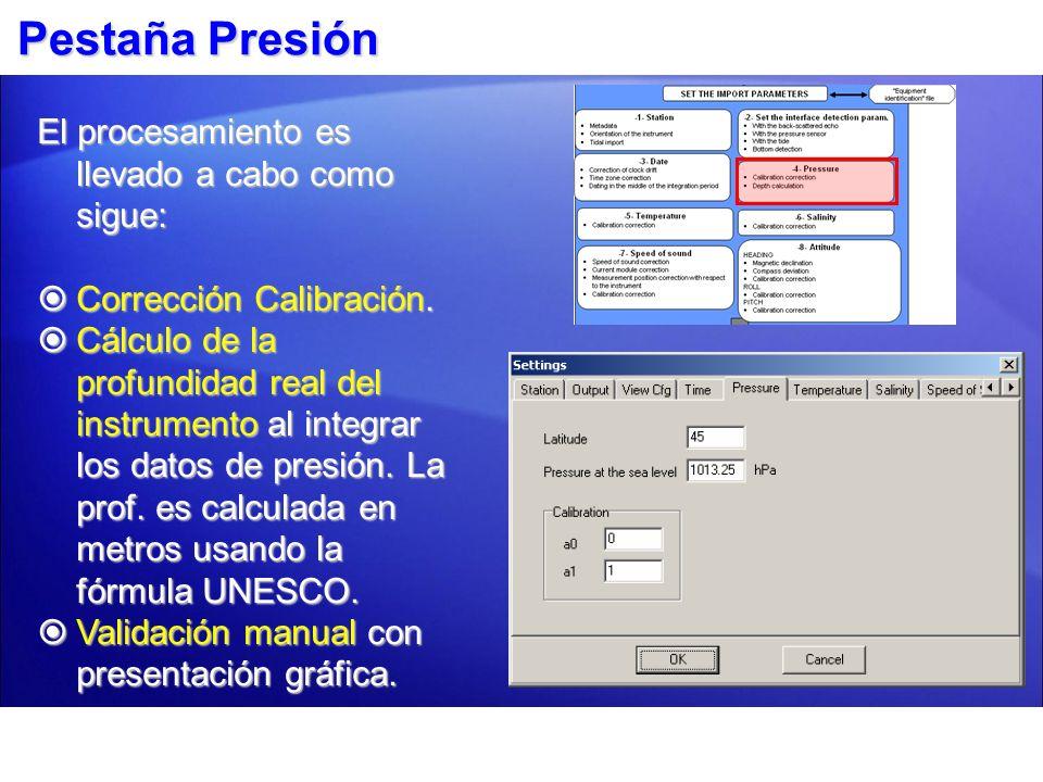 Pestaña Presión El procesamiento es llevado a cabo como sigue:
