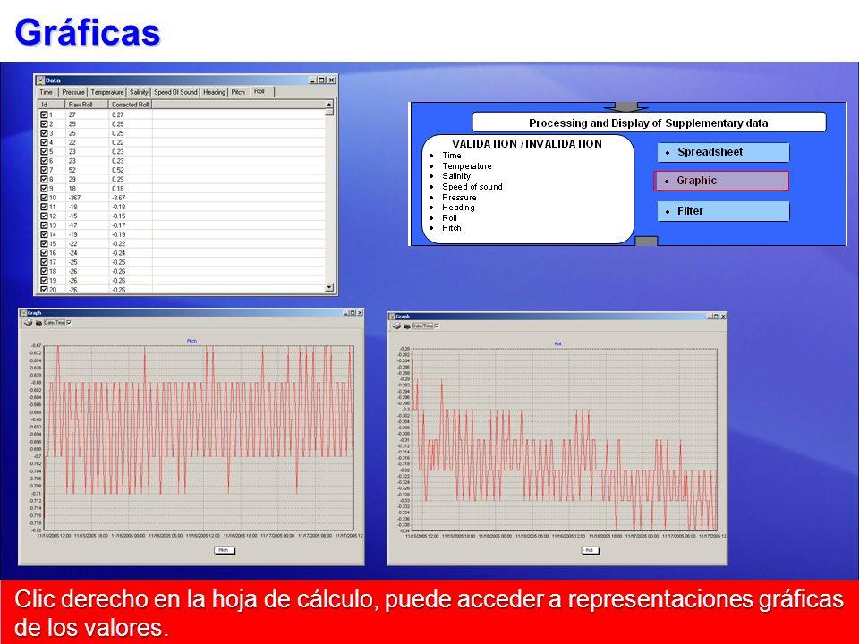 Gráficas Clic derecho en la hoja de cálculo, puede acceder a representaciones gráficas de los valores.