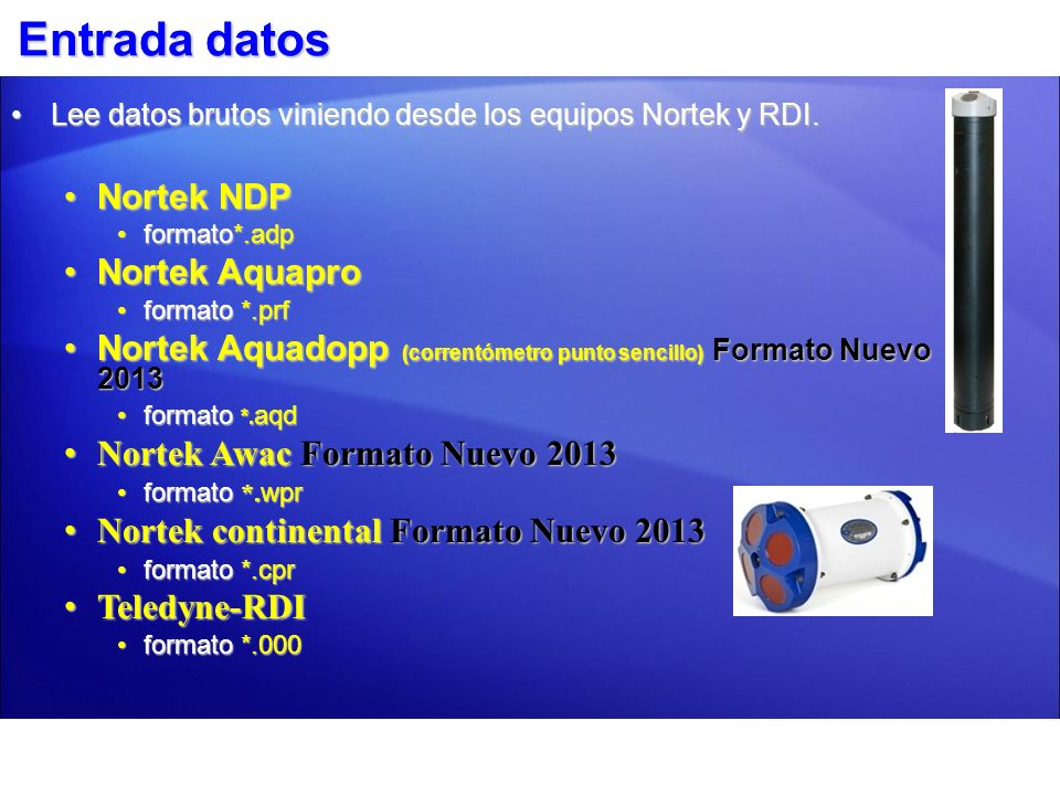 Entrada datos Nortek NDP Nortek Aquapro