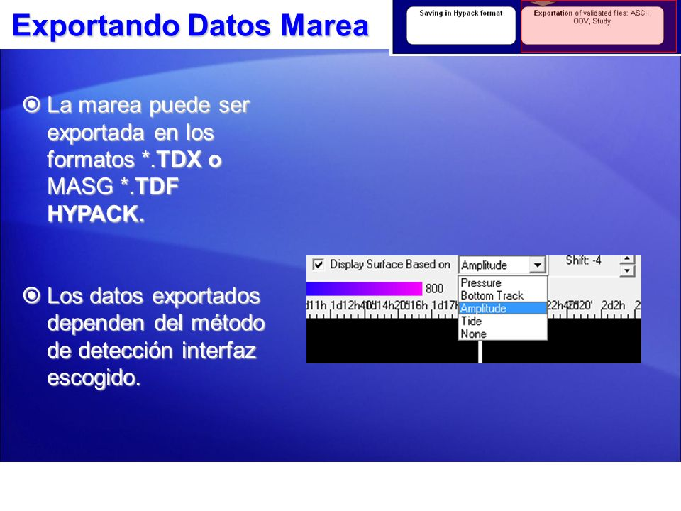 Exportando Datos Marea