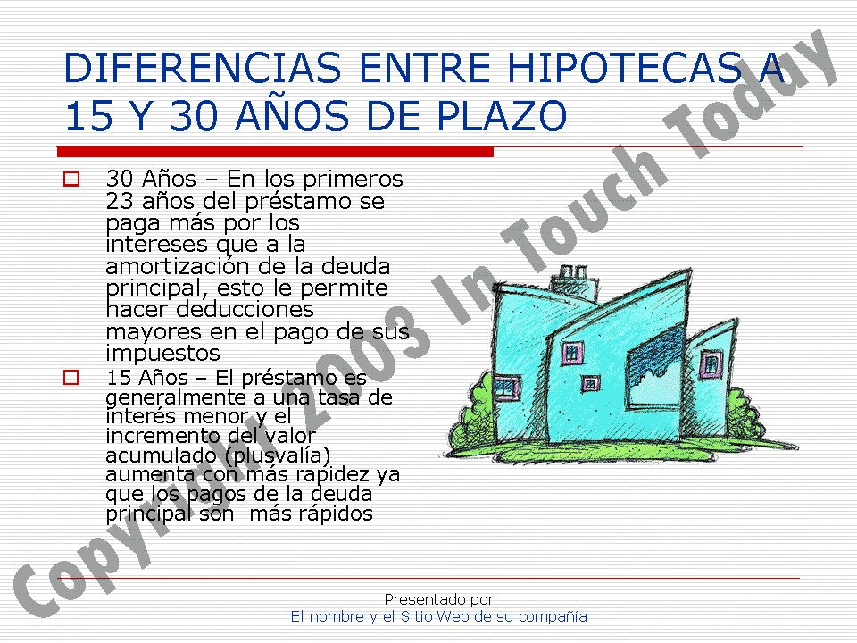 DIFERENCIAS ENTRE HIPOTECAS A 15 Y 30 AÑOS DE PLAZO