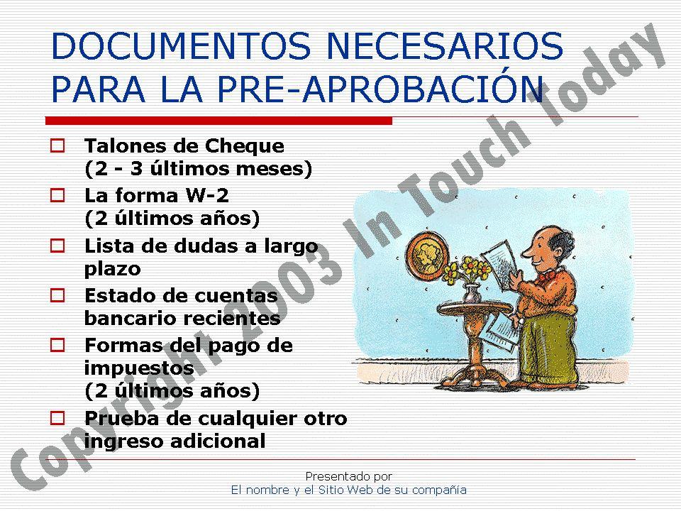 DOCUMENTOS NECESARIOS PARA LA PRE-APROBACIÓN