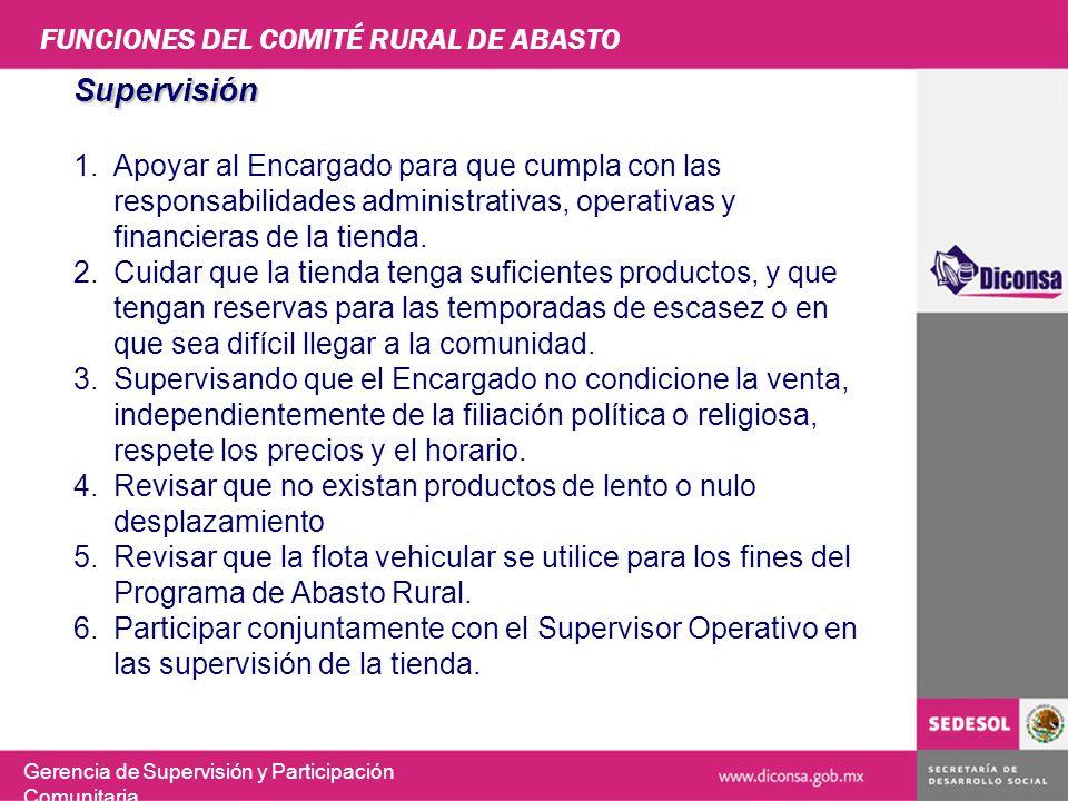 FUNCIONES DEL COMITÉ RURAL DE ABASTO
