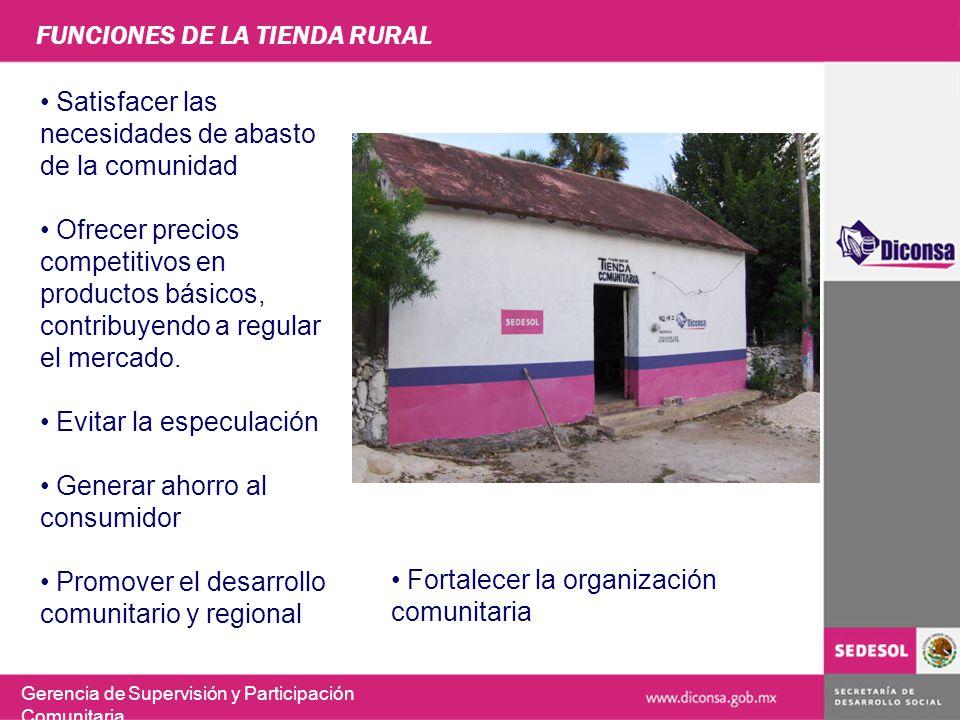 FUNCIONES DE LA TIENDA RURAL